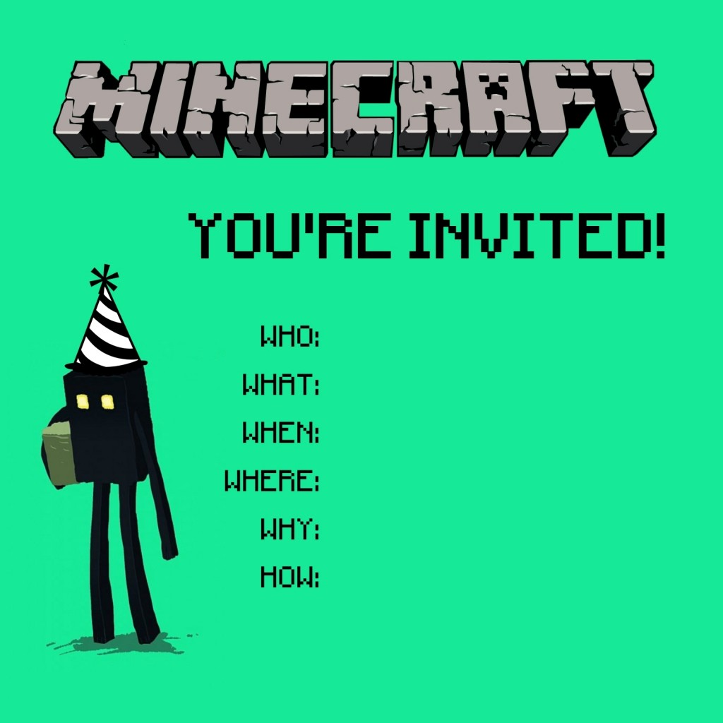 The party details on top with these great minecraft fonts from here